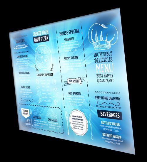 monitor wyświetlający menu restauracji